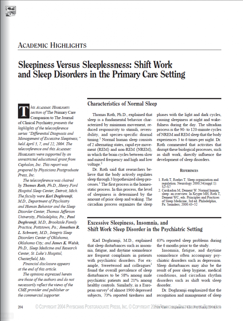 First page of Sleepiness Versus Sleeplessness: Shift Work and Sleep Disorders in the Primary Care Setting